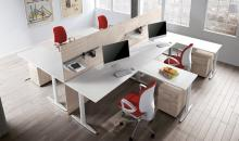 Sestava kancelářských stolů v bílé  - Taurus