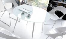 Kulatý jednací stůl se skleněnou deskou GIOVE