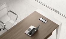 Manažerský nábytek Gemini kombinace barvy Olmo a bílé kovové podnoží