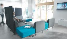 Modulární sedačkový systém OF WL v módní šedo-tyrkysové kombinaci