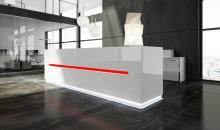 Designové recepce Crux - bílý lak a LED osvětlení