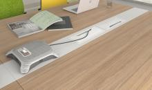 Jednací stoly MOON detail umístění kovových průchodek