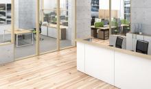 Nábytek do Recepce MOON - bílá v kombinaci s dubovou texturou