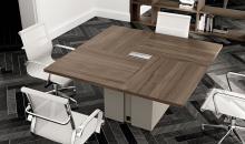 Jednací stůl Gemini na kovovém boxu - detail