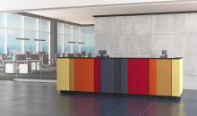 Recepce MINO - barevná recepce s textilními panely