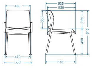 Aura rozměry jednací židle