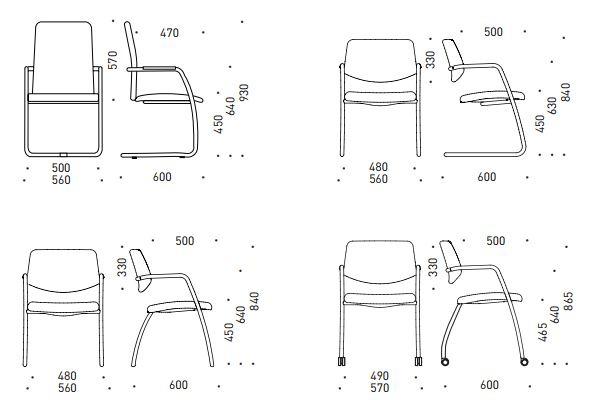 Gama jednací židle rozměry
