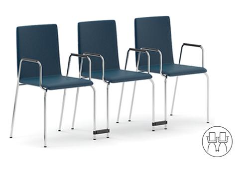 Jednací židle MOON - uspořádání do řad