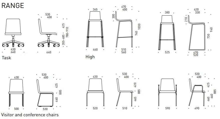 Moon jednací židle - rozměry