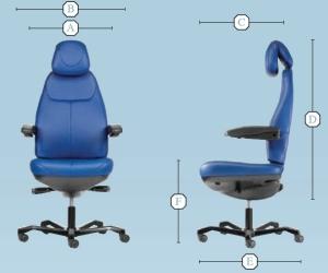 Rozměry KAB Seating křesla