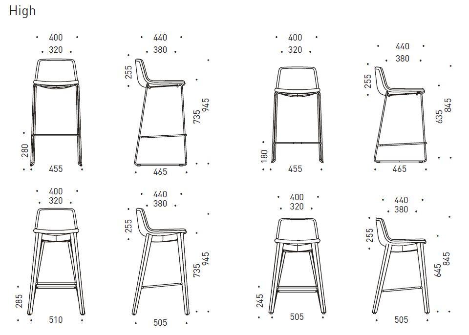 Rozměry vysoké židle Tango