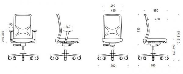 Rozměry židle Wind