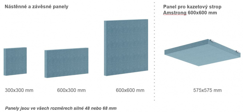 Rozměry panelů acoustic MOD light