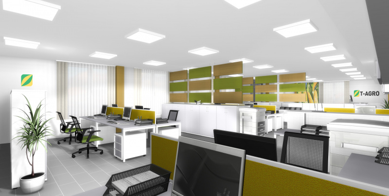 Vizualizace kanceláře pro společnost T-Agro