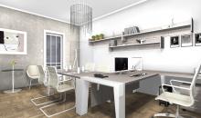 Návrhy kanceláří - Manažerský nábytek Gemini Metal ve světlé dřevině