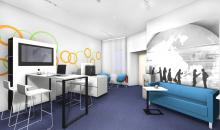 Architektonický návrh Relax zóna s křesílky, sedačkou a vysokým stolem
